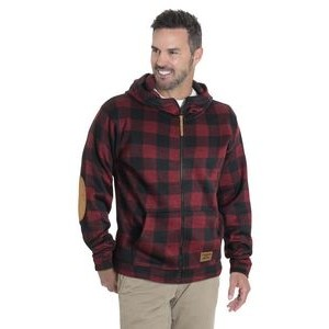 Initial unisex plaid hooded full zip jacket